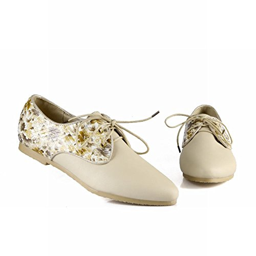 Carol Shoes Casual Womens Lace-up Floral Pattern Comfort Fashion Low Heel Oxfords Shoes Beige L4N7wdC