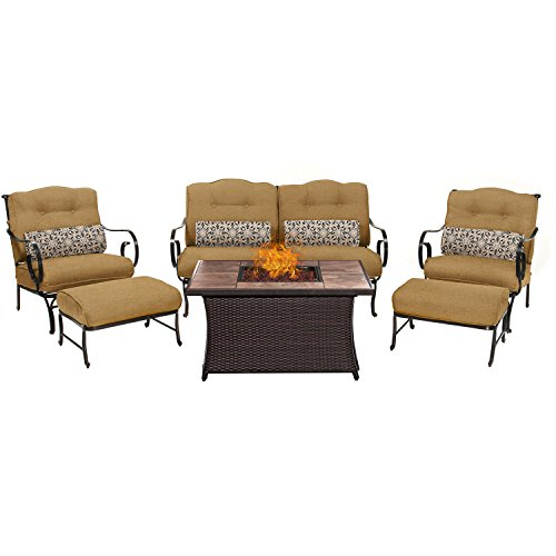 Hanover OCE6PCFP-TAN-TN 6 Piece Oceana Lounge Set in Country Cork with LP Gas Fire Pit (Country Living Outdoor Furniture)