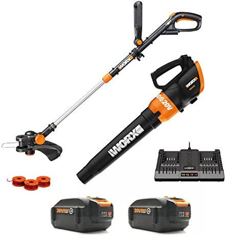 Worx WG954 20V Revolution Grass Trimmer Edger and Turbine Blower Combo Kit with two 20V 2.0Ah Batteries, Charger