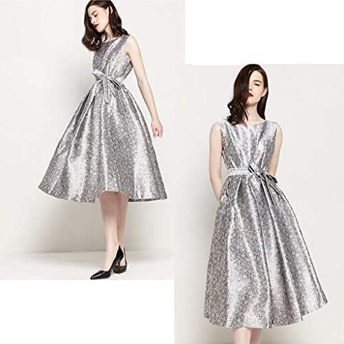 Kleid Damen Sommer Neue ärmelloses Kleid Silber Taille Gürtel Tutu Bankett Party langes Kleid Rock großen Rock A-Linie Kleid Geschenk