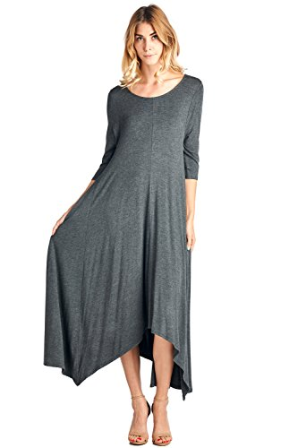 12 Ami Solid 3/4 Sleeve Pocket Loose Maxi Dress Charcoal M