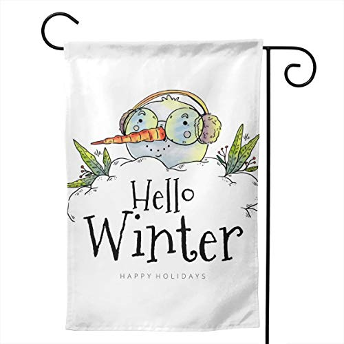 CHILL TEK Cute Head Snowman Wearing Glasses and Earmuffs Two Sided Print Outdoor Banner with Novelty Pattern and Stitched Edge Durable Lightweight for Mailbox Flower Spot Garden and -