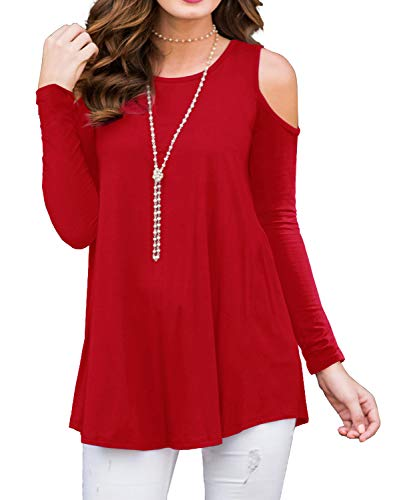 PrinStory Women's Long Sleeve Casual Cold Shoulder Tunic Tops Loose Blouse Shirts Red-S ()