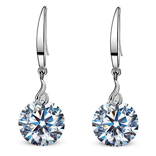 Drop Zirconia Cubic Earrings - ML S925 Sterling Silver 10mm Naked Drill Swarovski Element Crystal Earrings For Women (Earrings White color)