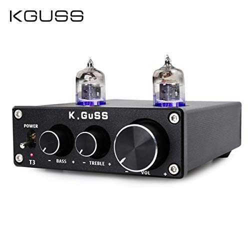KGUSS T3 Vacuum Tube Mini Bile 6J1 Preamp Tube Amplifier Buffer Tube Amp HiFi Audio Preamplifier Treble & Bass Adjustment Pre-amps DC12V(Black)