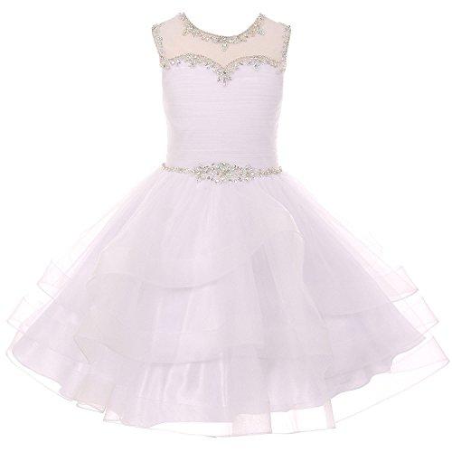 Big Girls Rhinestones Tulle Layers Organza Junior Bridesmaid Flower Girl Dress White-Size 14