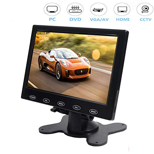 - CAIRUTE® 7 Inch Ultra Thin 16:9 Super HD 1024*600 TFT LCD Color Car Rear View Monitor DVD VCD Headrest Monitor Support Audio Video HDMI VGA