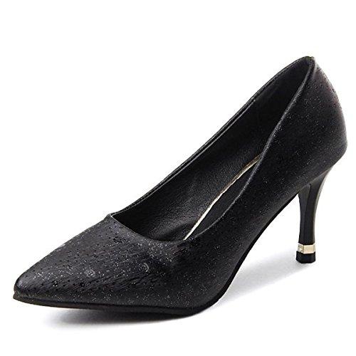 Argent US8 DIMAOL Occasionnels Talon Chaussures PU UK6 5 Spring Noir Summer CN40 Chaussures Pour EU39 Comfort Black Femmes Pour 5 Heels Or rrwqva