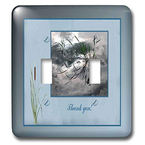 3dRose Beverly Turner Thank you Design - Thank you, Frog in a Pond Photo, Cattails Accent, Blue Frame - Light Switch Covers - double toggle switch (lsp_286999_2)