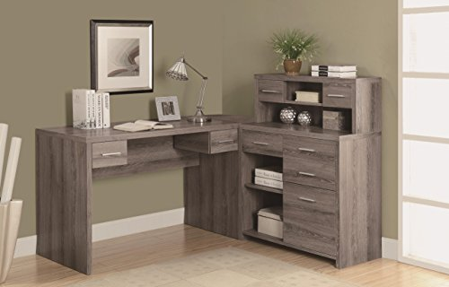 "Monarch Reclaimed-Look ""L"" Shaped Home Office Desk, Dark Taupe Monarch Specialties"