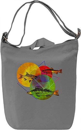Colorful Fish Borsa Giornaliera Canvas Canvas Day Bag| 100% Premium Cotton Canvas| DTG Printing|