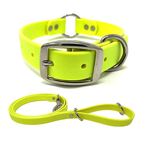 Yellow Waterproof Heavy Duty Dog Collar and Leash – Custom Fit Vinyl-Coated Webbing Water Resistant, Anti Odor and Easy…