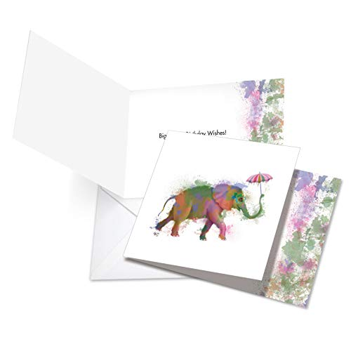 "CQ4948JBDB New Square-Top Birthday Card: Funky Rainbow Wildlife-Elephant Featuring Hipster-Like Image of Elephant with Colorful Paint Splotches, with Envelope (Size: 4 ¾"" x 6 5/8"")"