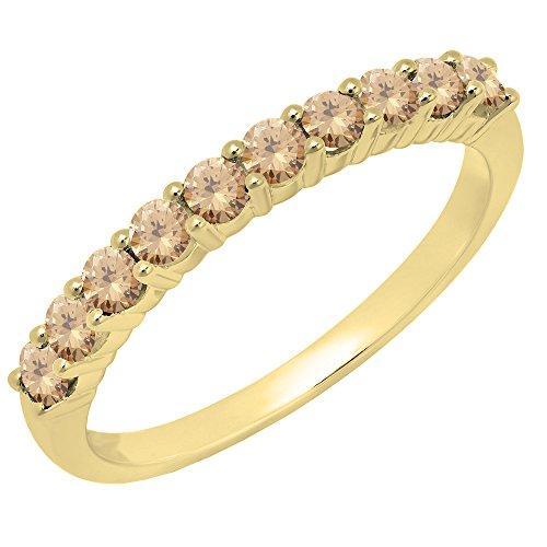Dazzlingrock Collection 0.45 Carat (ctw) 14K Round Champagne Diamond Ladies Wedding Band 1/2 CT, Yellow Gold, Size ()