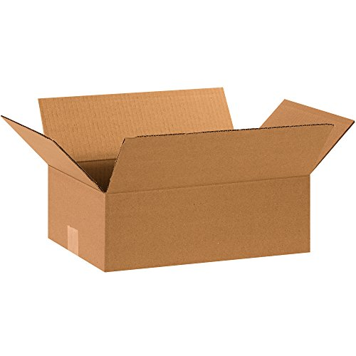 Aviditi 15105100PK Flat Corrugated Boxes, 15'' L x 10'' W x 5'' H, Kraft (Pack of 100) by Aviditi