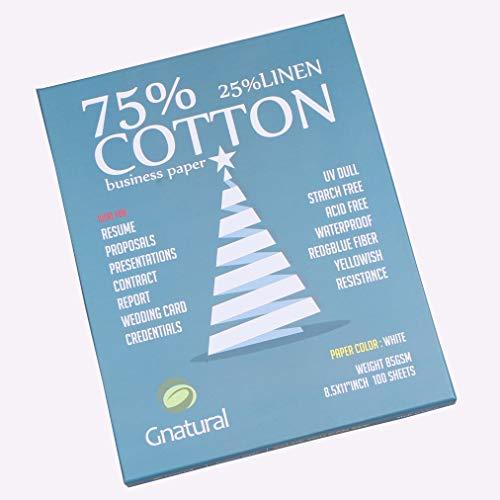 (Neutral 75% Cotton 25% Linen Paper,85gsm Inkjet Laser Printing Paper,8.5