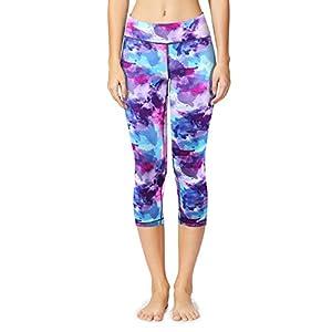 Baleaf Women's Tummy Control Workout Printed Yoga Capri Pants Hidden Pocket Ink Purple Size S