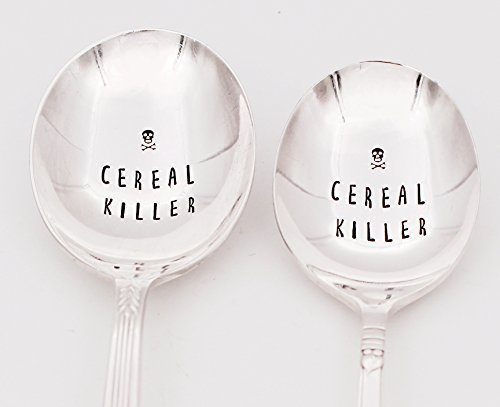 Cereal Killer Spoon ~ Hand Stamped Silver plated Cereal Killer Spoon ~ Great Gift for Him or Her ~ Cool Cereal Spoon ~Under 20