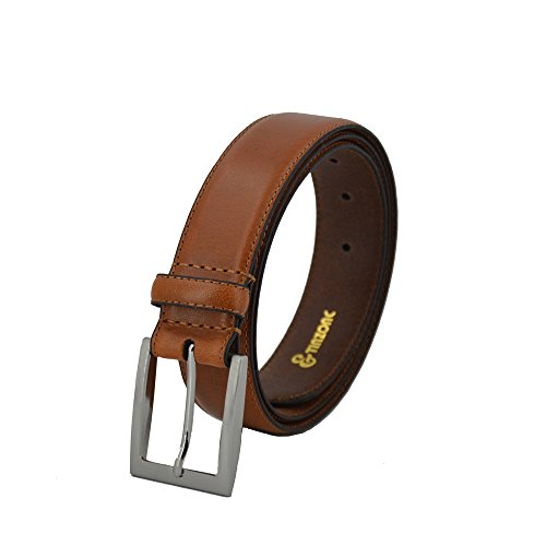 TINZONC Men's 35mm Brown/Black Leather Belt Dress Belt Classic Jean Belt With (Medium Mens Leather)