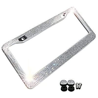 Zone Tech Shiny Bling License Plate Cover Frame - Crystal Bling Premium Quality Novelty/License Plate Frame with Mounting Screws: Automotive
