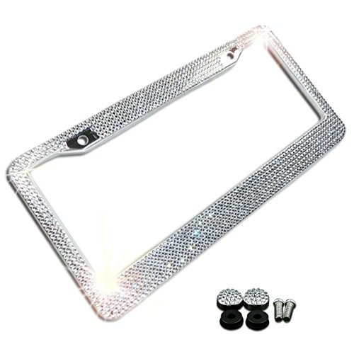 Zone Tech Shiny Bling License Plate Cover Frame - Crystal Bling Premium Quality Novelty/License Plate Frame with Mounting Screws]()