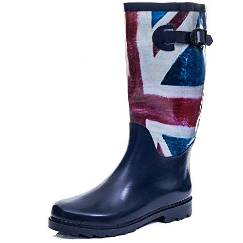 (Spylovebuy Knee High Flat Welly Rain Boots Blue Union Jack Sz 7)