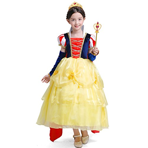 LOEL Girls' Princess Snow White Costume Fancy Dresses Up for Christmas Party, Yellow,140cm for 6-8 year