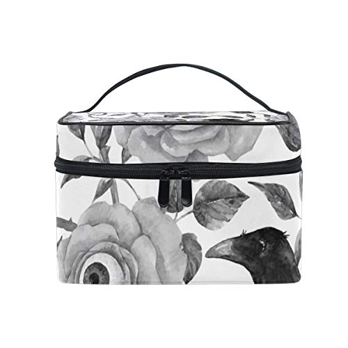 OREZI Watercolor Floral Halloween Cosmetic Bag Large Multifunction Makeup Travel Toiletry Travel Kit Organizer Case with Quality Zipper Portable for Makeup Bag for Women ()