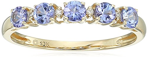 10k Yellow Gold Tanzanite and Diamond Accented Stackable Ring, Size 8 Diamond Tanzanite Ring