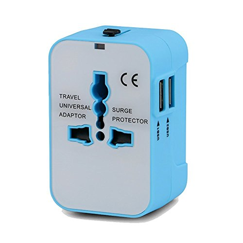 Price comparison product image Universal Power Adapter, Worldwide All in One International Travel Adapter Wall AC Power Plug Adaptor with Dual USB Charging Ports for iPhone Android, All USB Devices