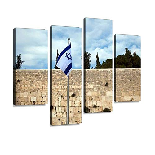 The Israel Flag in Front of The Wailing Wall Canvas Wall Art Hanging Paintings Modern Artwork Abstract Picture Prints Home Decoration Gift Unique Designed Framed 4 Panel
