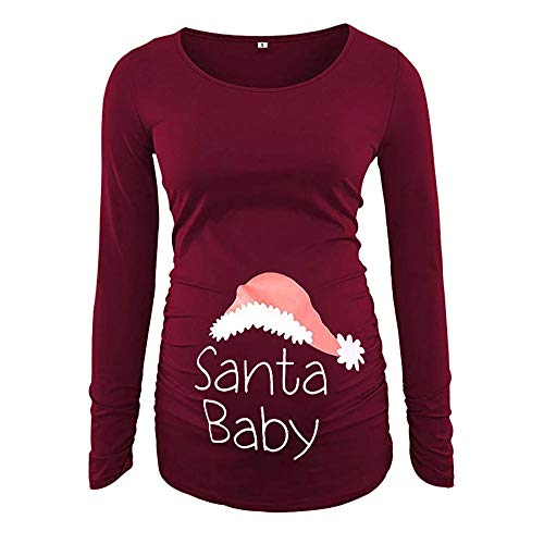 Women's Christmas Shirts Long Sleeve Loose Print Winter Pregnancy Pullover Tops Clothes ()