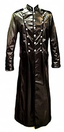 Long Gothic Military Style PU Leather Coat (XXL)