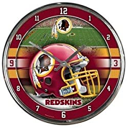 Washington Redskins Round Chrome Wall Clock