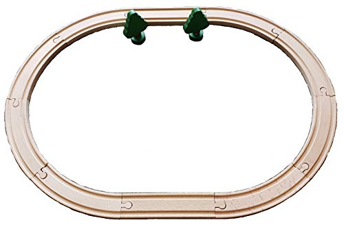 Wooden Train Track Oval 18 x 24 inch 12 Piece Set Compatible with Other Railroads w/Trees