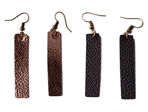 L&N Rainbery 2 Pairs Bar Leather Earrings Antique Looking Long Pendant Faux Leather Bohemia Dangle Drop Earrings (Rose Gold+Black) ()