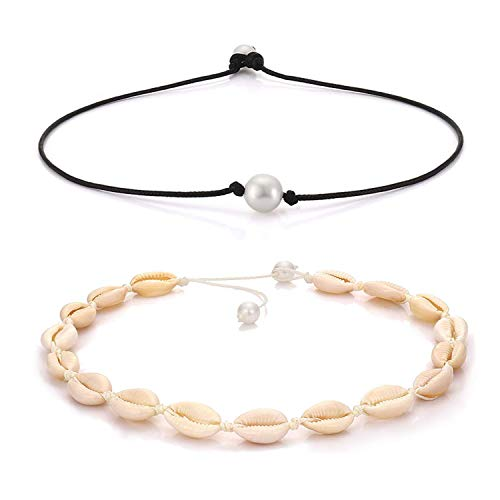ATIMIGO Summer Beach Gold Shell Conch Choker Handmade Boho Cowrie Pearl Necklace Jewelry for Women Girls ()