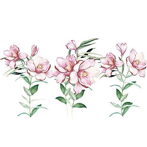 Amaonm Giant Removable Creative Fashion Pink Red Romantic Flower Tree Wall Decal DIY PVC Floral with Green Leaves Wall Decorations Art Decor Stickers Murals Wallpaper for Nursery Room Living Room