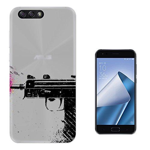 c00866 - Cool Gun Splash Pink Paint Art Graffiti Army Police Design Asus Zenfone 4 ZE554KL CASE Gel Silicone All Edges Protection Case Cover (Gun Splash)