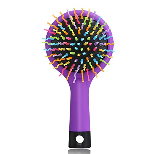 LEORX Detangling Hair Brush Rainbow Volume Brush Magic Hair Curl Straight Comb Brush with Mirror (Purple)