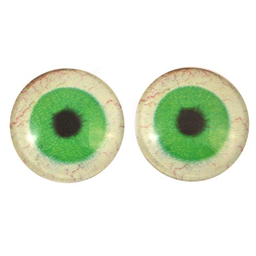 30mm Glow in The Dark Bright Green Human Glass Eyes - Glass Eyes Pair - Peel and Stick Adhesive Backing - for Art Dolls, Jewelry Making, Taxidermy, Scrapbooking, and More -