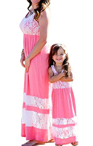 Mommy And Me Easter Dresses (Family Matching Dress Mommy and Me Lace Patchwork Bohemia Long Maxi)