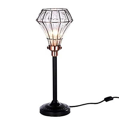 Dazhuan Vintage Stylish Metal Edison Desk Lamp Lighting , Cracked Glass Shade Table Light Reading Lamps For Bedrooms Living Room