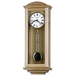 25-inch Solid Wood Natural Pendulum Wall Clock with hourly Westminster Chime and Strike, Night off - P00061