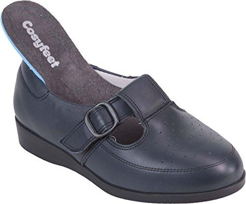 Cosyfeet Catherine Shoes - Extra Roomy (Eeeee+ Width Fitting) Navy Leather cjedKAN