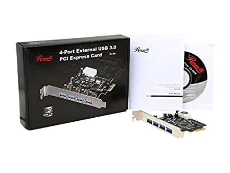 USB PCIe Card, 4 Port USB 3.0 to PCI Express Card Expansion card, PCI-E to USB 3.0 4 Port Hub Controller Adapter, Rosewill RC-508 PCI-E to USB 3.0 Add ...