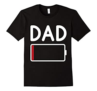Mens Tired DAD Low Battery - Funny Father's Day T-Shirt