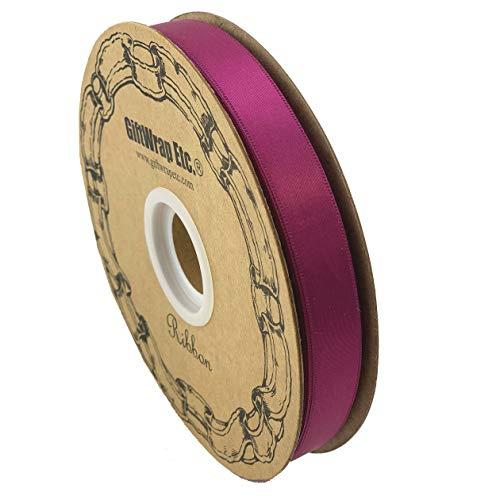 (Fuchsia Pink Satin Fabric Ribbon - 5/8