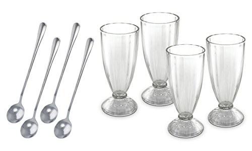 KOVOT Set Of 4 Old Fashioned Soda Glasses And Spoons - (4) 13-Ounce Classic Ice Cream Soda Glasses & - http://coolthings.us
