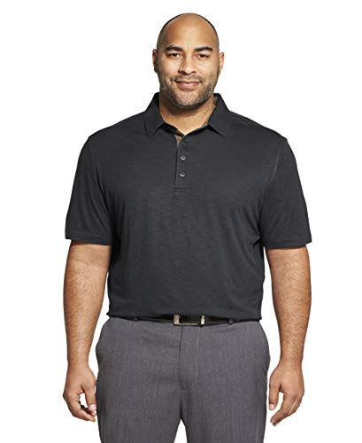 Van Heusen Men's Short Sleeve Air Performance Solid Polo Shirt, Legacy Black, XX-Large